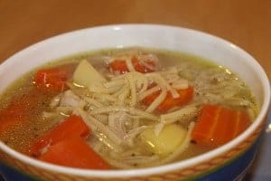 Home made chicken soup assists in weight loss.